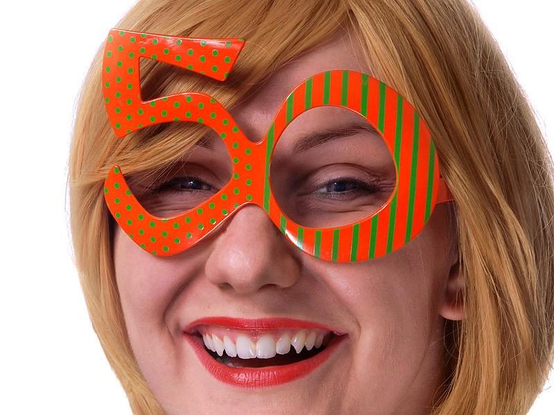 Orange - fest briller - formet som tallet 50 - uden glas