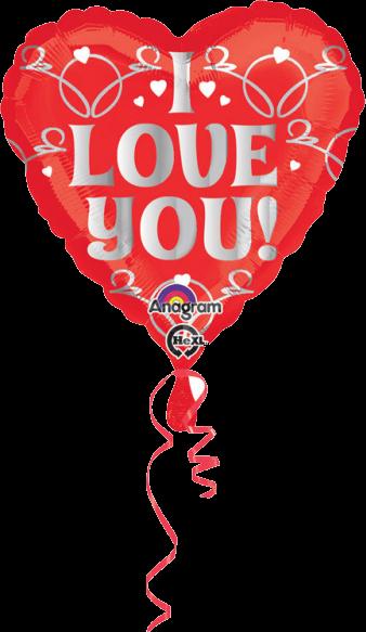 Billede af I Love U hjerte folie ballon
