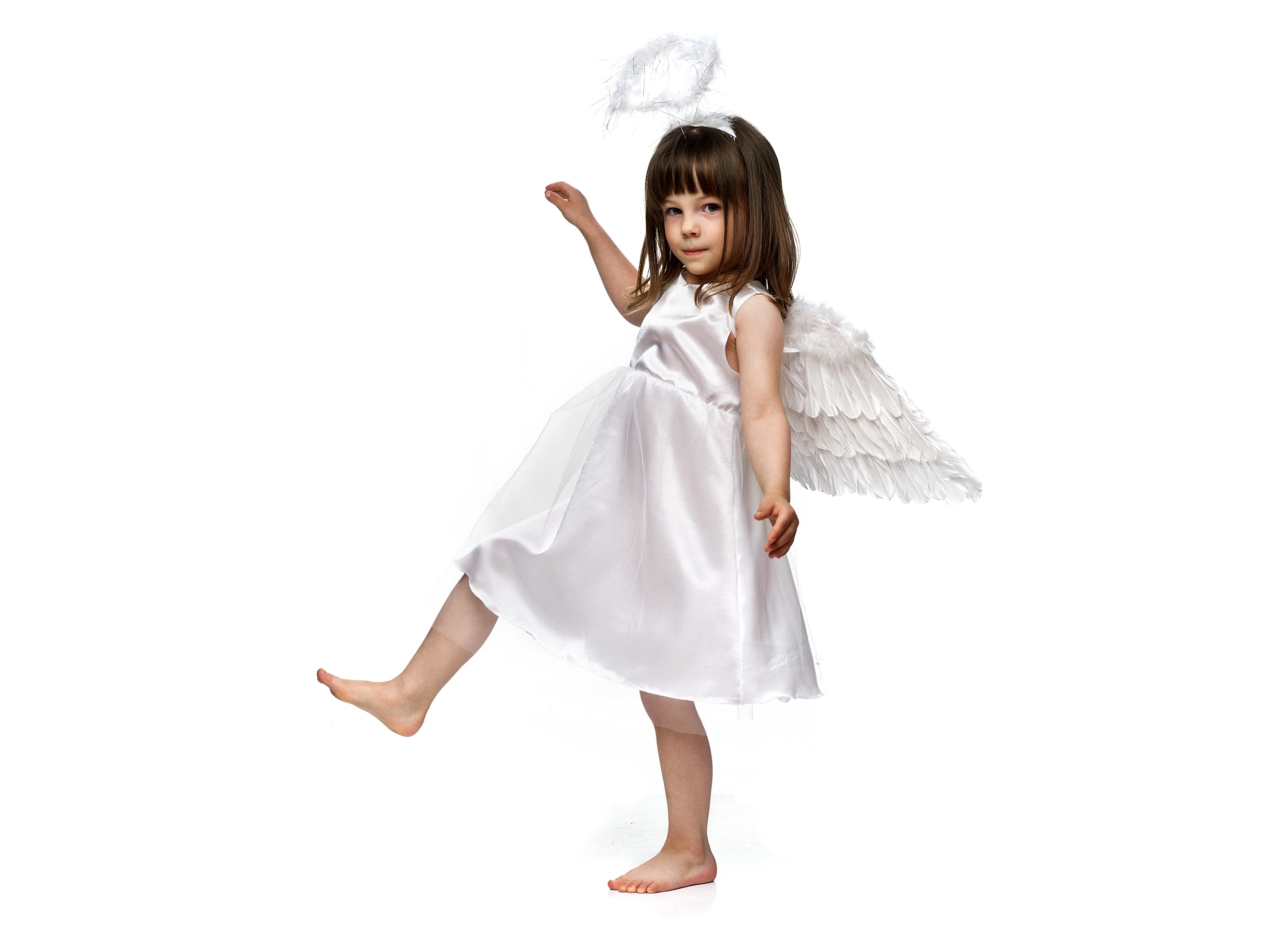 Billede af Hvid kjole med tyl 110 - 116 cm