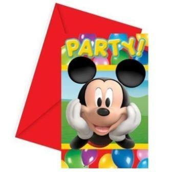 Billede af 6 Stk. Mickey Mouse invitationer, Party