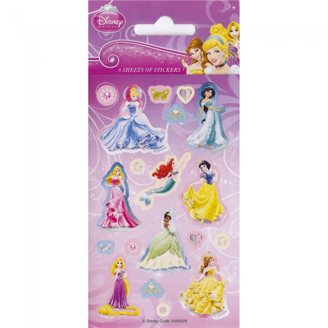 Billede af Disney Prinsesser klistermærker - 6 ark