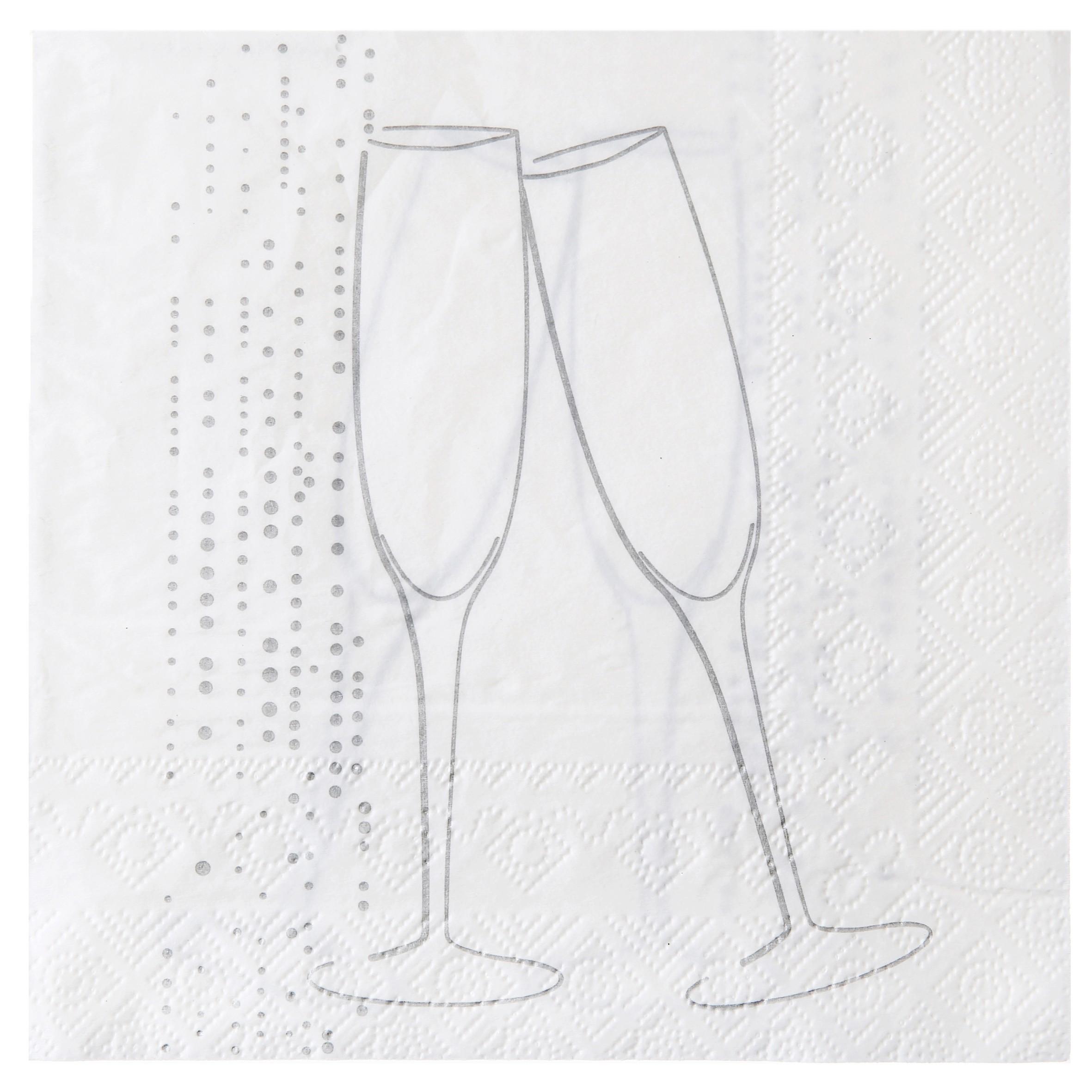 Nytårs servietter - Champagne - Hvid