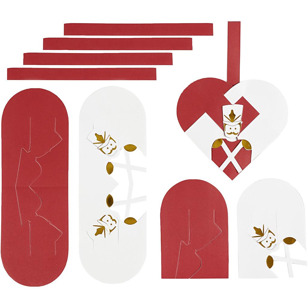 Flettede Julehjerter, 12,5×11,5 cm, Guld, Rød, Hvid, 8 Sæt 12,5×11,5 cm