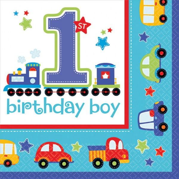 Image of   1 års fødselsdag servietter, dreng