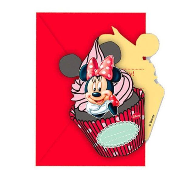 Billede af 6 Stk. Minnie Mouse invitationer