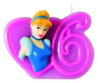 Billede af Disney Prinsesser fødselsdagslys: Fødselsdag - 6 års fødselsdag