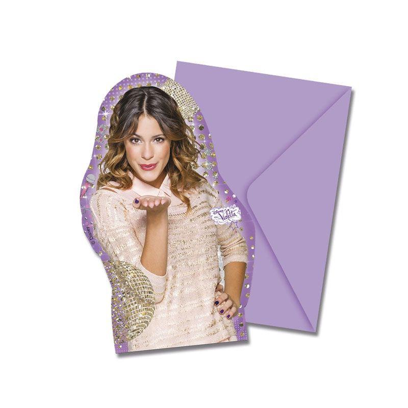 Billede af 6 Stk. Violetta invitationer
