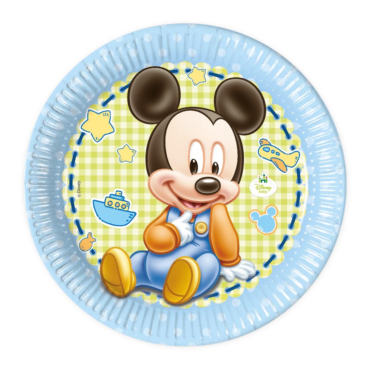 Billede af 8 stk. Baby Mickey pap tallerkner