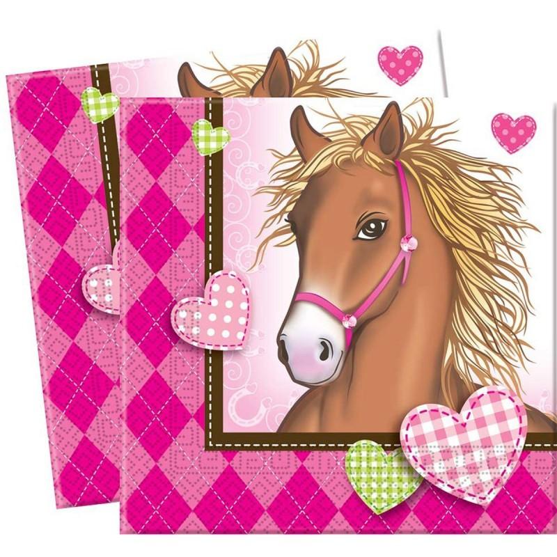 Image of   20 stk. Heste med hjerter servietter