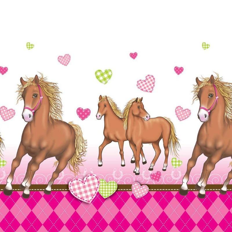 Billede af Heste med hjerter plastik dug