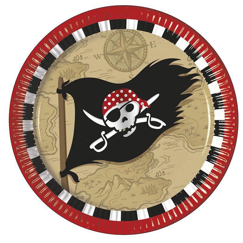 Billede af 8 stk. Pirater skattejagt pap tallerkner