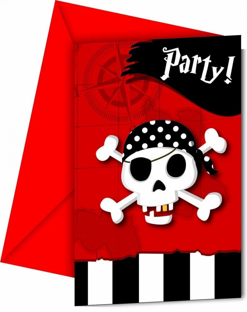 Billede af 6 stk. Pirater skattejagt invitationer