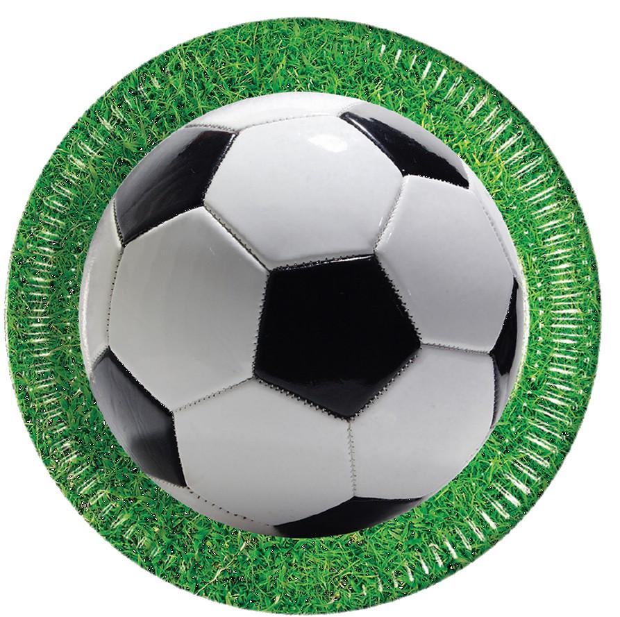 8 stk. Fodbold pap tallerkner med grøn bort