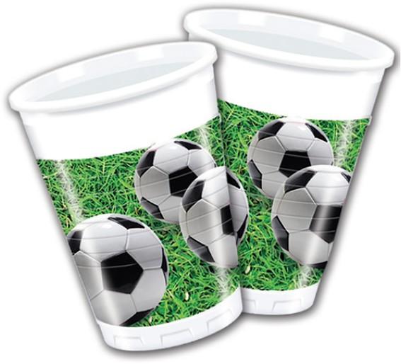 Billede af 8 stk. Fodbold krus med græs baggrund