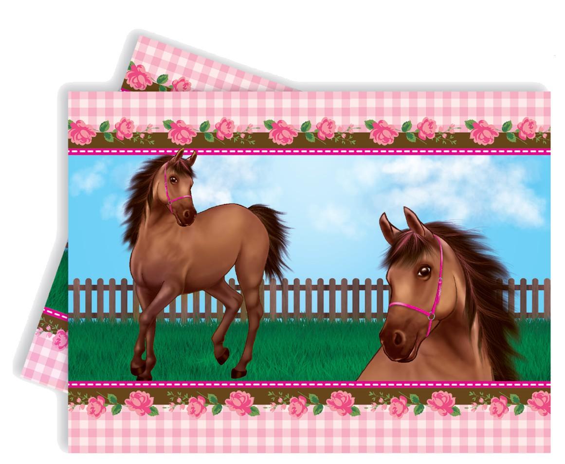 Billede af Heste med roser plastik dug