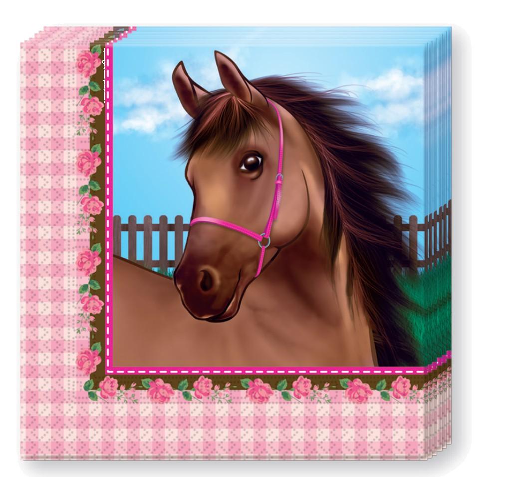 Billede af 20 Stk. Heste med roser servietter