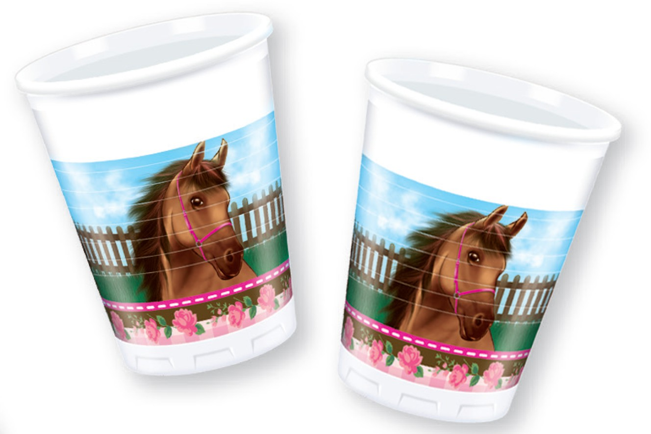 Heste med roser engangskrus