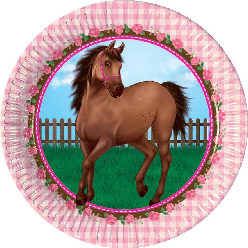 Billede af 8 Stk. Heste med roser pap tallerkner
