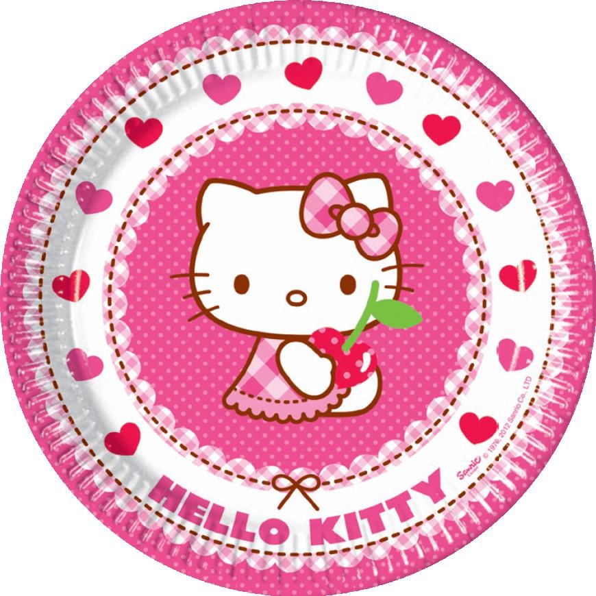 Billede af 8 Stk. Hello Kitty pap tallerkner