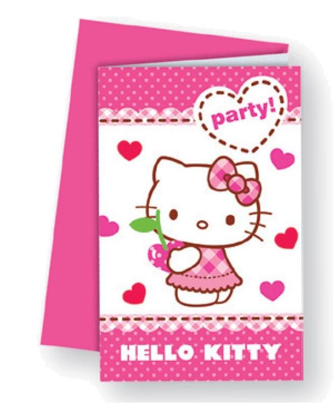 Billede af 6 Stk. Hello Kitty invitationer