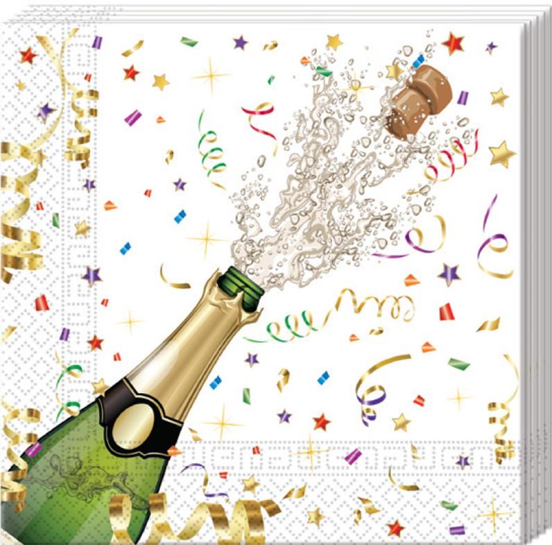 Image of   20 Stk. Nytårs servietter Champagne