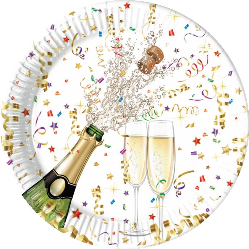 Billede af 8 Stk. Nytårs paptallerkner Champagne