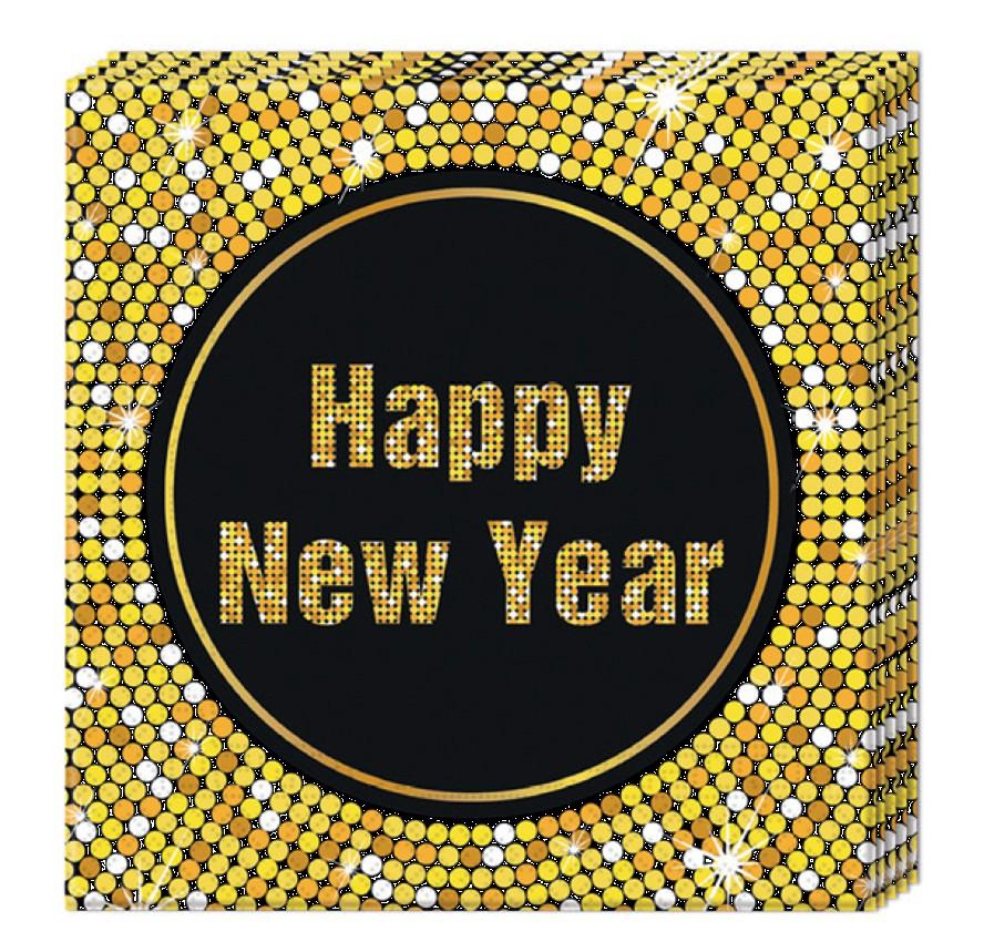 Billede af Nytårs servietter med guldkant
