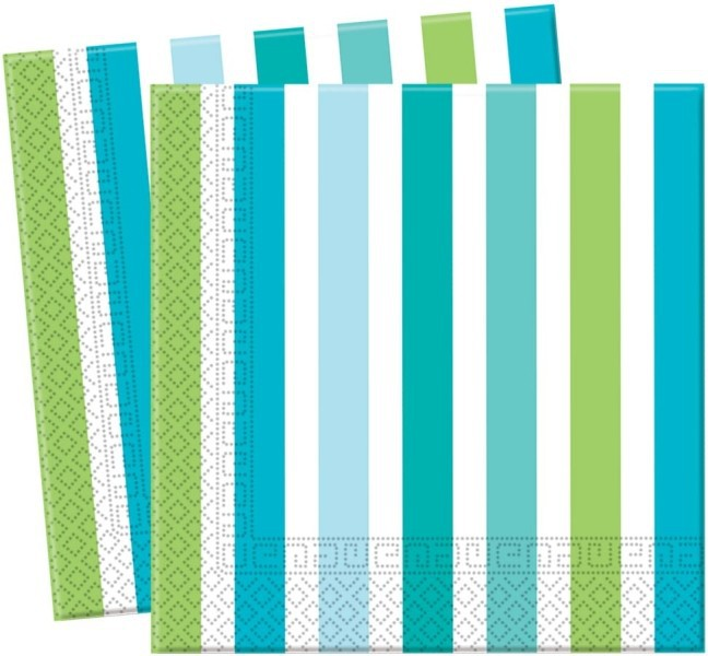 Billede af 20 Stk. Turkisblå,grøn og hvid stribet servietter