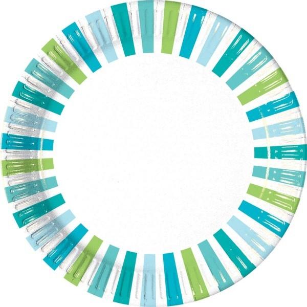 Billede af 10 Stk. Turkisblå, grøn og hvid stribet pap tallerkner