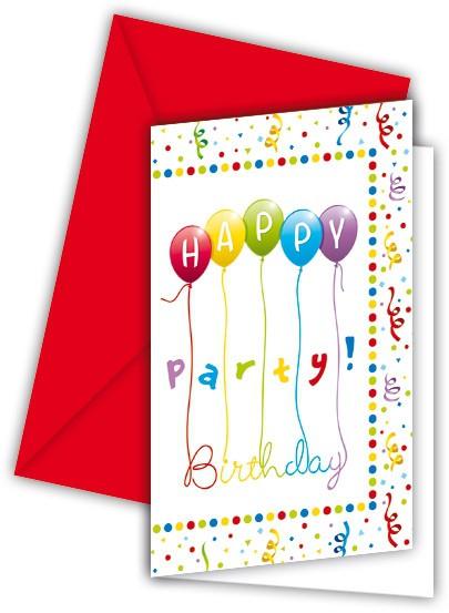 Billede af 6 stk. Happy Birthday invitationer med balloner