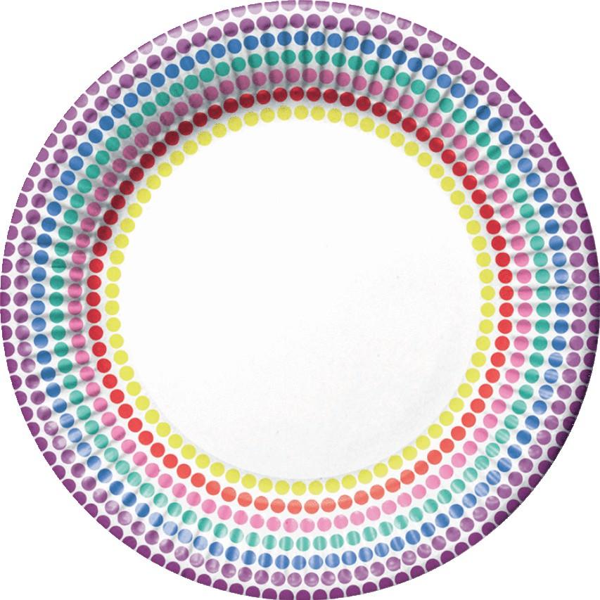 Billede af Prikket paptallerkner med forskellige lyse farver