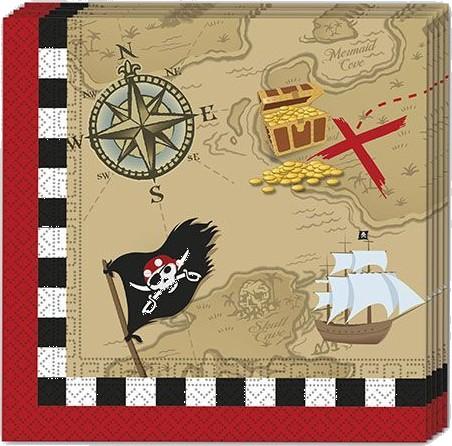 Billede af 20 stk. Pirat skattejagt servietter