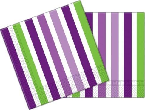 Billede af 20 Stk. Lilla, grøn og hvid stribet servietter