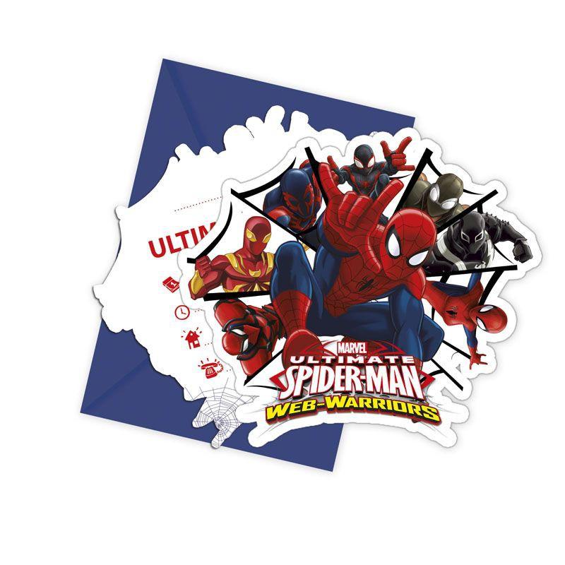 Billede af 6 Stk. Spider-man invitationer
