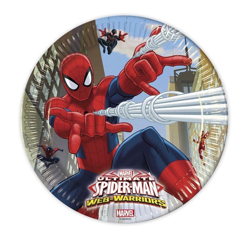 Billede af 8 Stk. Spider-man pap tallerkner