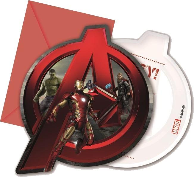 Billede af 6 Stk. Avengers Age of Ultron invitationer