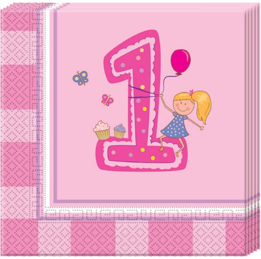 Image of   20 Stk. Den første fødselsdag servietter, pige
