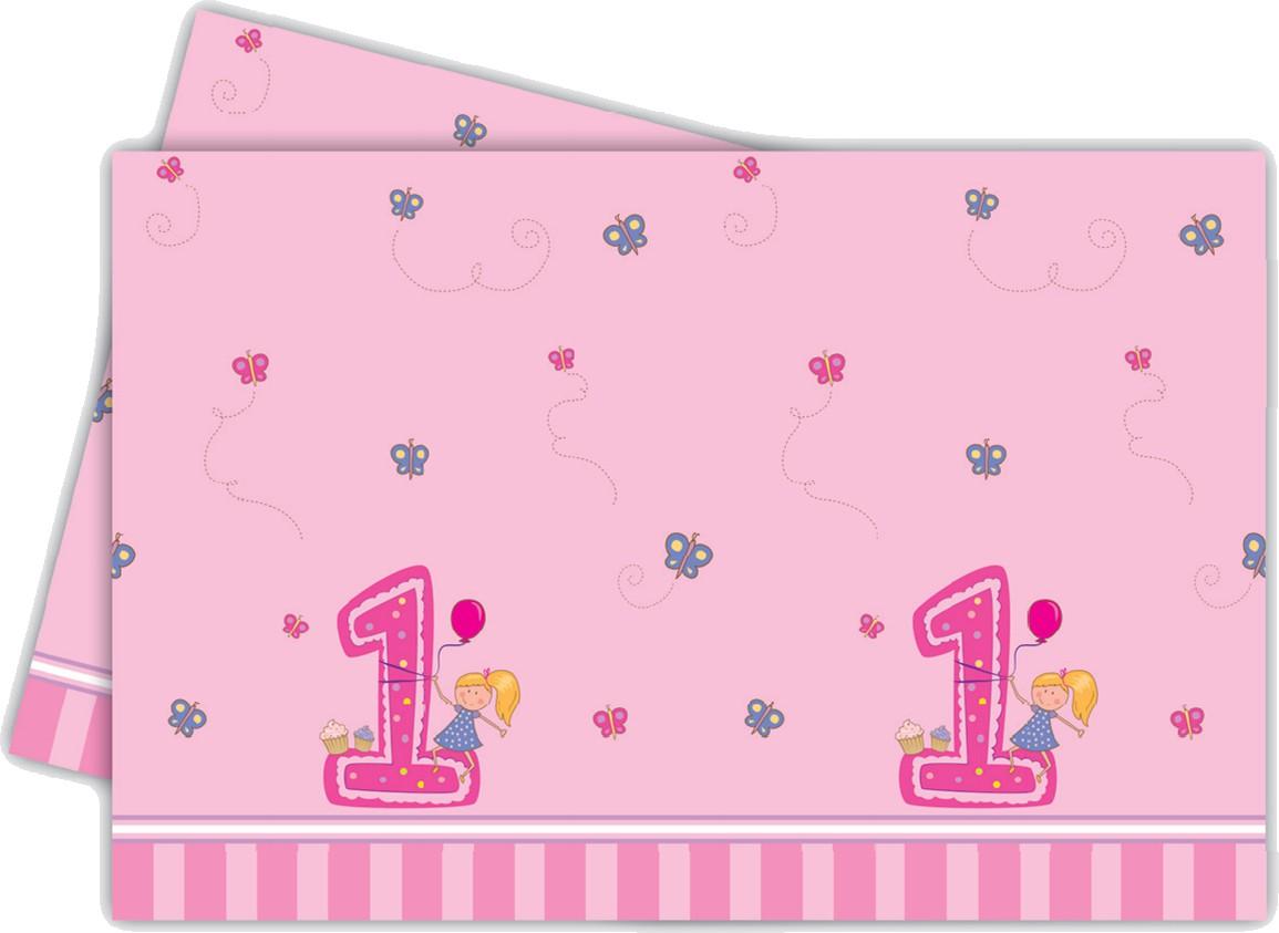 Billede af Den første fødselsdag plastik dug, pige