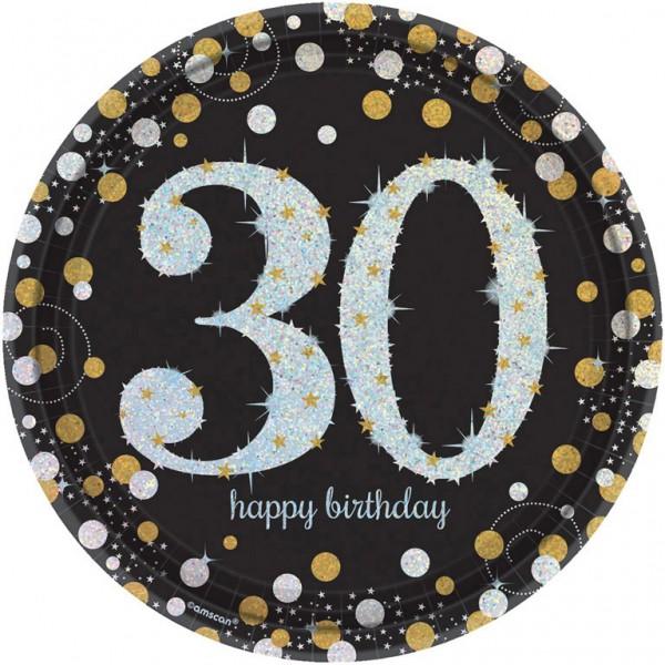 Billede af 30 års Fødselsdag paptallerkner: Farve - Sølv
