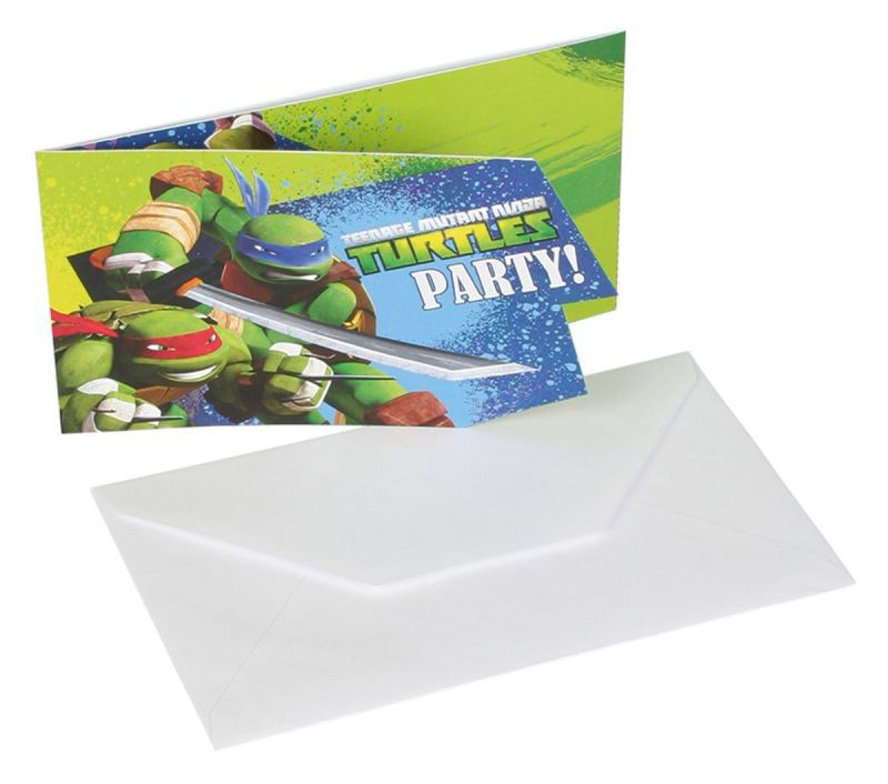 Billede af 6 Stk. Teenage Mutant Ninja Turtles invitationer
