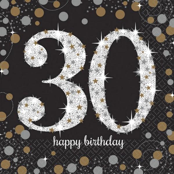 30 års Fødselsdag servietter: Farve - Sølv