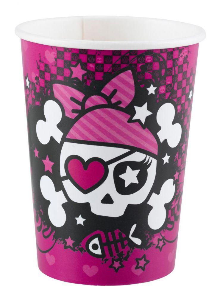 Billede af Pink Pirate engangskrus 8 stk.