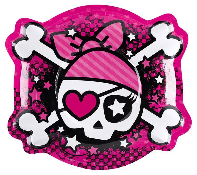Billede af 6 Stk. Pink Pirate tallerkner