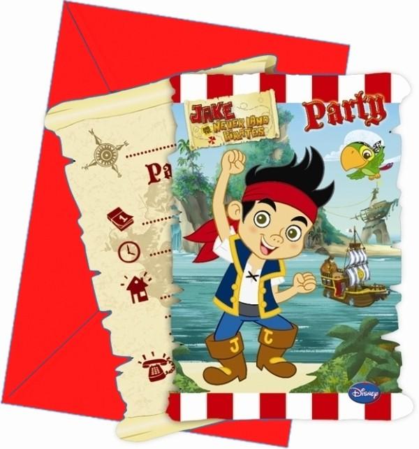 Billede af 6 stk. Jake og piraterne invitationer