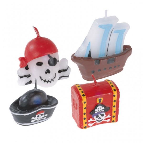 Billede af 4 stk. Pirat stearinlys