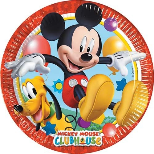 Image of   8 Stk. Mickey Mouse pap tallerkner, Party