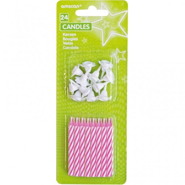 Billede af 24 Stk. Pink/hvid Lagkagelys med 12 holdere