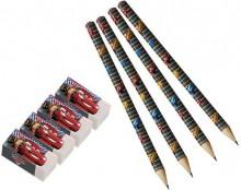 Billede af Biler blyant og viskelæder pakning