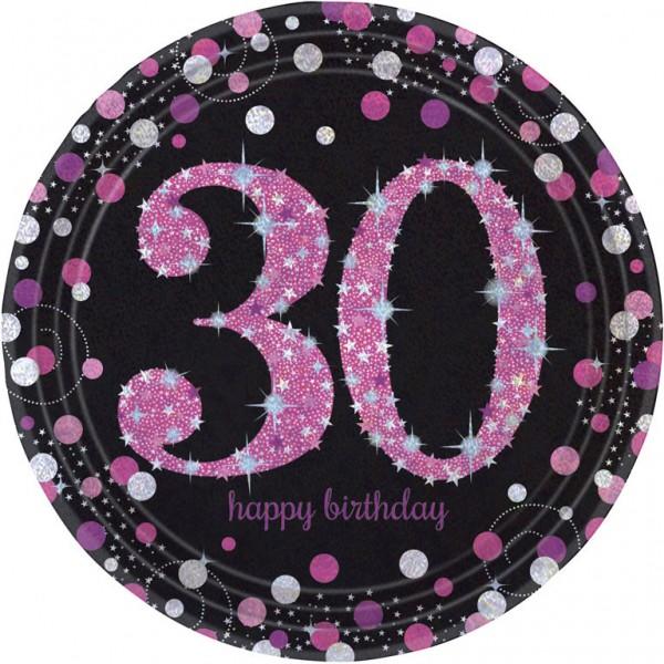 30 års Fødselsdag paptallerkner: Farve - Pink