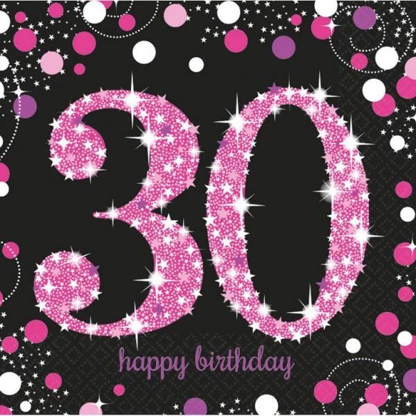 30 års Fødselsdag servietter: Farve - Pink
